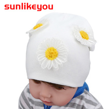цена Sunlikeyou Newborn Photography Props Baby Girls Kids Hat Flower Cotton Soft Toddler Hats Cap 0-24 Months Baby Beanie Bonnet