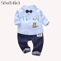 New kids Casual Fashion Clothes Cartoon Embroidery Long Sleeved Tshirt+Striped Trousers1 3T Boys Girls lol Surprise Clothes Suit
