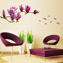 Purple Magnolia Flower Wall Stickers Bedroom Parlor Wall Stickers Home Decor Living Room Paper Sticker Vinyl Wall Decals O28(China)