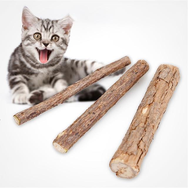 2 piezas/3 piezas gato limpieza de los dientes Catnip-gato Molar palo Silvervine Matatabi gato aperitivos palos