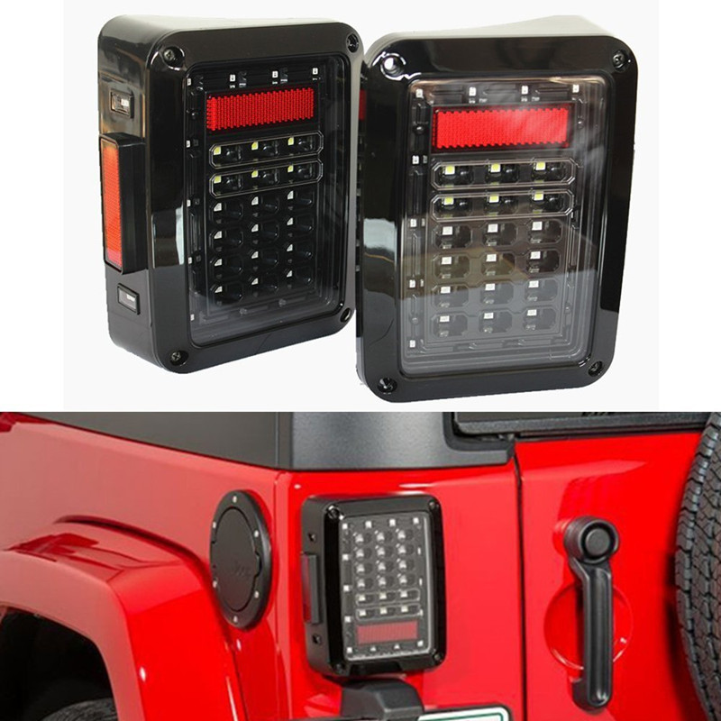 One pair Clear Lens Red LED Tail light Assembly w/ Turn signal & Back Up waterproof 12V LED Light for 07-16 Jeep Wrangler JK led tail light assembly w turn signal