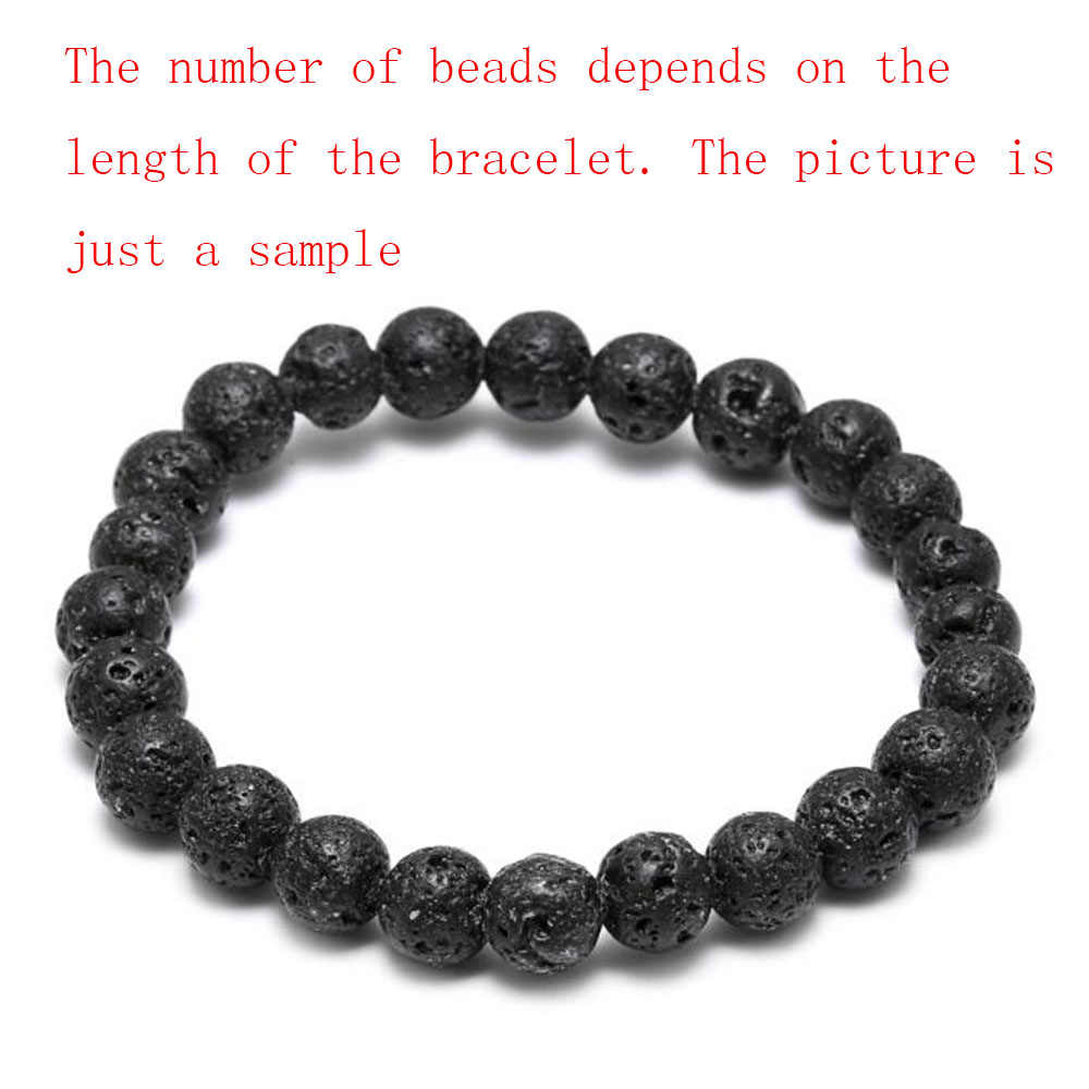 THLIVEOU คุณภาพสูง 8mm 10mm 12mm 14mm Black Lava Stone ยืดหยุ่นสายสร้อยข้อมือลูกปัดสำหรับผู้หญิงชายสร้อยข้อมือ Strand