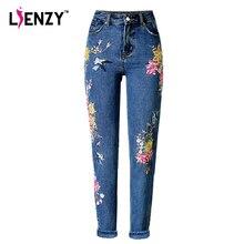 Lienzy American Apparel BF Для женщин Джинсы Высокая Талия Птица Цветочный 3D вышивка Высокая талия женские прямые джинсовые штаны Джинсы Штаны