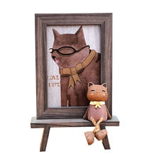 Nordic Style Photo Frames For Picture Cute Cartoon Cat Office Table Frame 6 inch Imitation Wood Grain Color Picture Frames Gifts(China)