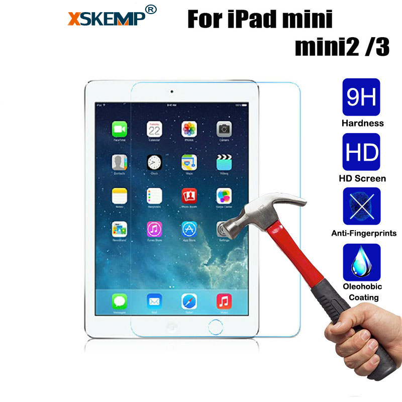 XSKEMP Top Quality 9H Tempered Glass For Apple iPad mini 2 3 79 inch Screen Protector Hard Cover Tempered Glass Protective Film