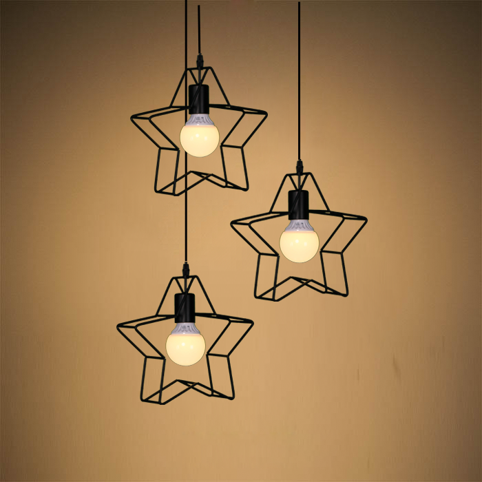 LOFT Wrought Iron Star Bar Corridor Restaurant Droplight Children Bedroom Balcony Stair Cafe Bar Coffee Shop Club loft retro tree glaze glass pendant lamp lights cafe bar art children s bedroom balcony hall shop aisle droplight decoration
