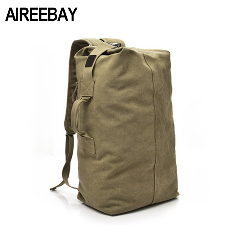AIREEBAY Large Capacity Men Bag Canvas Backpack Male Travel Bag Mountaineering Backpack High Quality 2 Size Luggage Shoulder Bag large capacity men canvas backpack mochila laptop backpack mountaineering versatile bag travel luggage bag