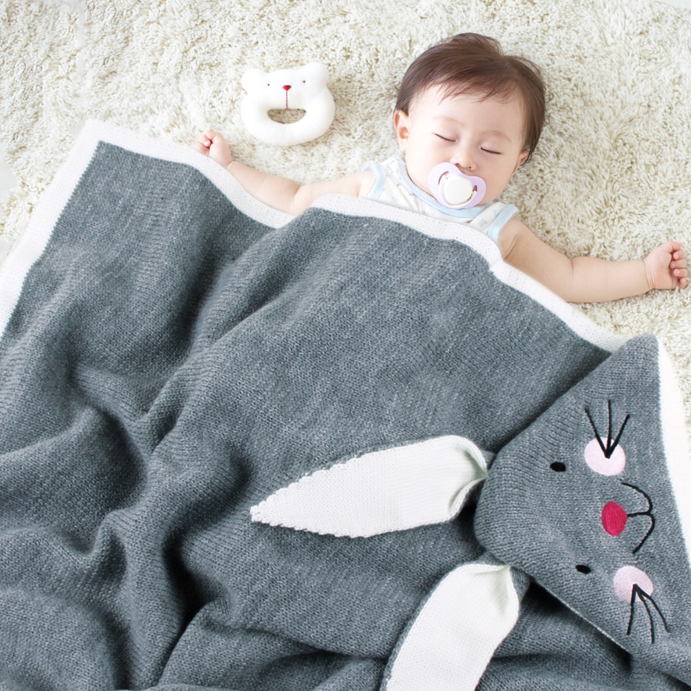 Baby Knitted Blankets Bunny Rabbit Knitted Newborn Stroller Cover Photography Prop Accessories Soft Infant Boy Girl Swaddle Wrap