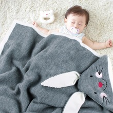 Baby Knitted Blankets Bunny Rabbit Newborn Stroller Cover Photography Prop Accessories Soft Infant Boy Girl Swaddle Wrap