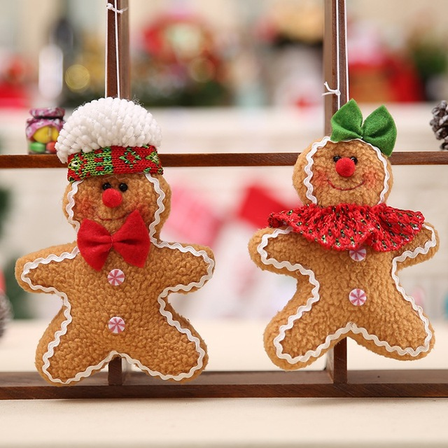 Us 1 1 31 Off Lovely Five Star Doll Pendant Fabric Christmas Tree Accessories Christmas Gingerbread Man Decoration In Party Diy Decorations From