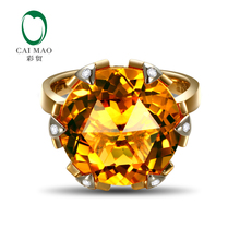 Caimao Jewelry 14K Yellow Gold 11.3CT Flawless Round Citrine Pave Diamond Engagement Ring