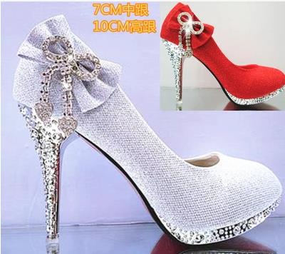 sexy Wedding Shoes Butterfly-knot Bridal Shoes Ladies Rhinestone  High Heels Platform Pumps women sequins Party shoes Size 34-41 real women pumps thin high heels ladies party shoes slip on butterfly knot cheap modest zapatos mujer sorbern wedding shoes sexy