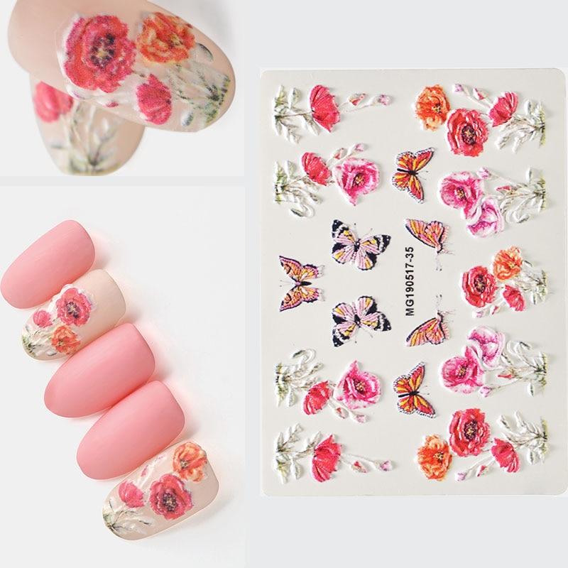 3D акриловая Выгравированная наклейка с цветком для ногтей, цветы, стрекоза, листва, водная декорация для ногтей, водная горка, наклейки Z0135|Стикеры и наклейки|   | АлиЭкспресс