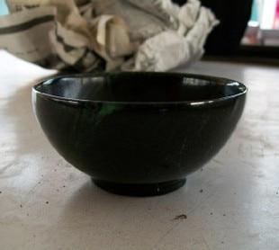Black beryl stone jade bowl caliber 10 8CM black jade original stone carving jade bowl Multidimensional