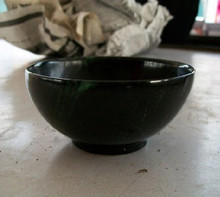 Black beryl stone jade bowl caliber 10.8CM black jade original stone carving jade bowl. Multidimensional functional health care
