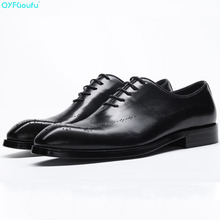 Luxury Brand Men Dress Shoes Vintage Brogues Oxford Shoes Fashion Genuine Leather Wedding Formal Carving Derby Shoes цена