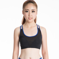 Womens High Impact Padded Zip Front Wirefree Support Workout Yoga Sports Bra