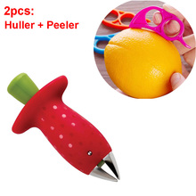 Fruit Gadget Cutter Tools 2PC / Set Strawberry Huller and Lemon Zester Orange Peeler(China)