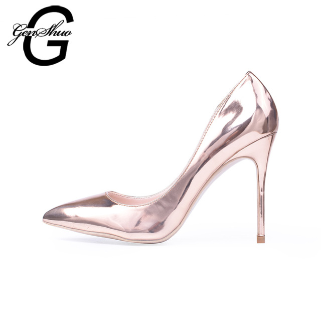 GENSHUO Women High Heels Shoes 10cm Rose Gold Pointed Toe High ...