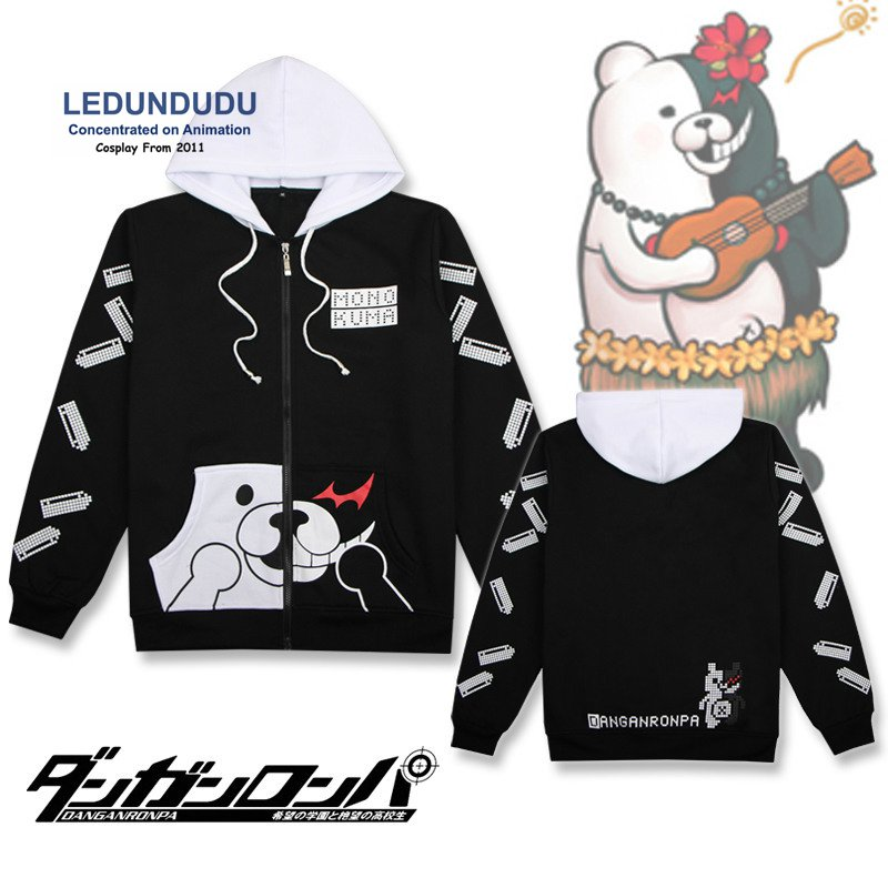 Hot Danganronpa Cosplay Costumes Coat Monokuma Bear Hoodies Cute Sweatshirt Men Jackets for Winter / Spring