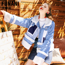Loose and thicked Jacket Fleece Denim jacket womens  Winter 2018 Warm Plush Cotton-padded