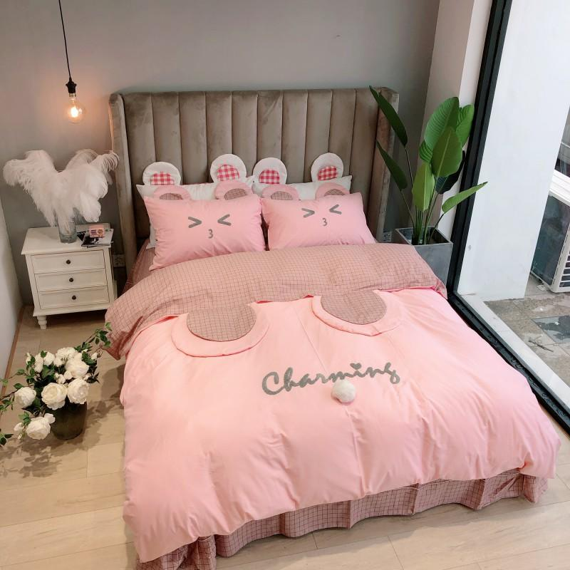 Twin Queen King size Pink Kids Girls Bedding Set 100 Cotton Bedsheet Duvet Cover Fitted sheet