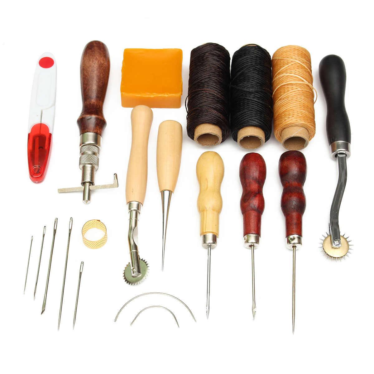 14 шт. кожаные инструменты для рукоделия комплект деревянной ручкой кожаный декоративный набор инструментов Перфоратор DIY Набор