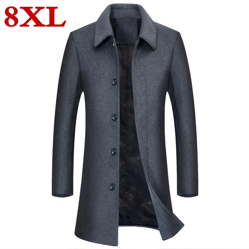 Plus Size 8XL 7XL 6XL  High Quality Jackets & Coats Single Breasted Casual Mens Wool Jackets Full Winter For Male Wool Overcoat