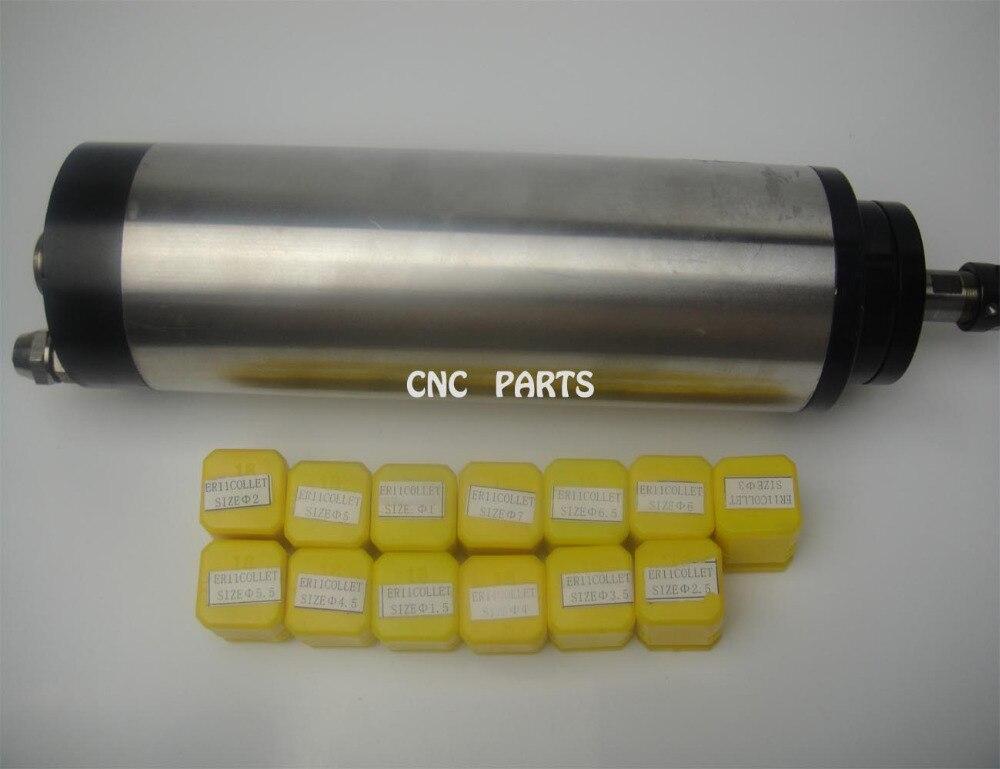 CNC milling spindle ER11 diameter 65mm 220V 0.8KW water cooling spindle motor 4 bearing + 13 pieces ER11 collets  цены
