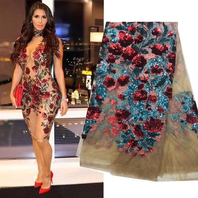 2019 Latest Sexy French Embroidered Tulle Lace Africa Sequins Mesh Lace Fabric Sewing for Party Wedding Dress Top Quality 5yards 1