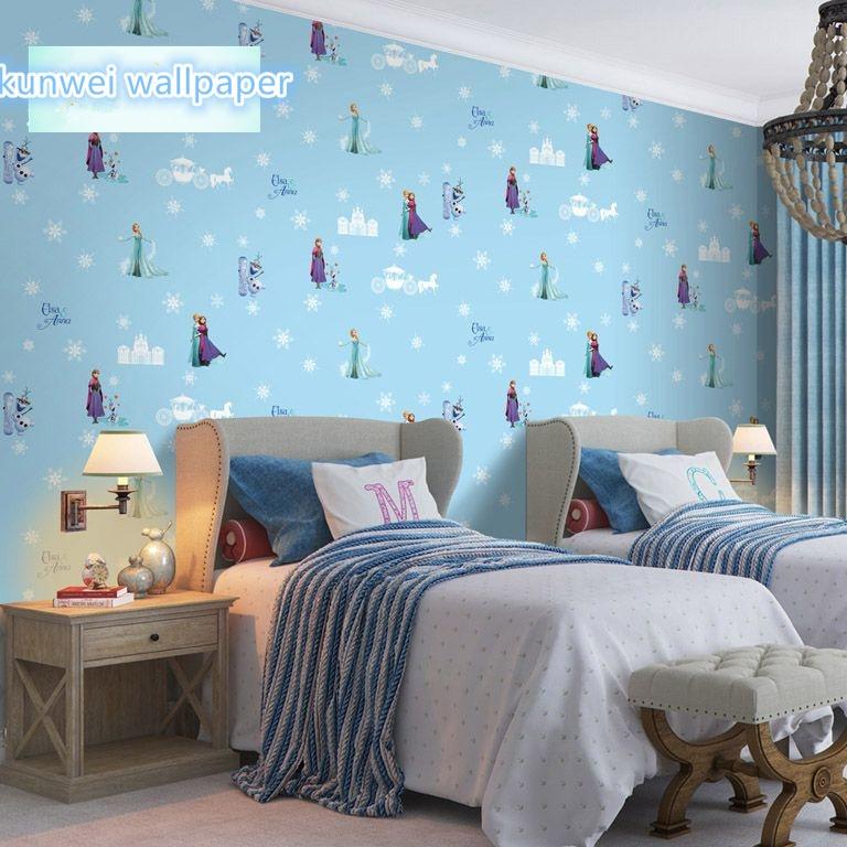 Childrens room luminous snowflake wallpaper ice girl bedroom cartoon wall paper non-woven