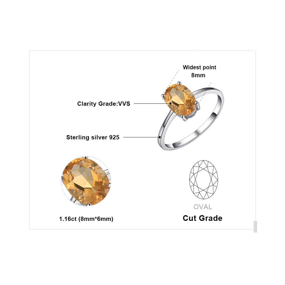 JewelryPalace ของแท้ Citrine แหวน Solitaire 925 เงินสเตอร์ลิงแหวนแหวนหมั้นแหวนเงิน 925 เครื่องประดับอัญมณี