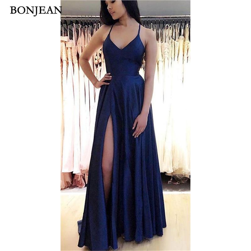 Offre spéciale bleu marine robes de soirée a-ligne étage longueur sans manches côté Split robes de soirée sur mesure Vestido de noche