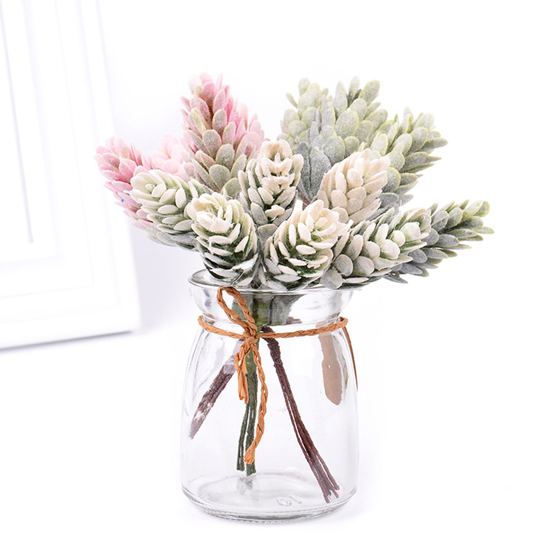 12pcs Fake Plant Branch Pine Cone Plastic Artificial Tree Bouquet Colorful Nut For Photography Props Scrapbook Office Desk Decor(China)