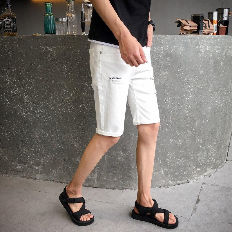 Mens Fashion Tight Denim Shorts Men 2018 summer high quality letter print hole stretch slim fashion casual shorts Knee Length