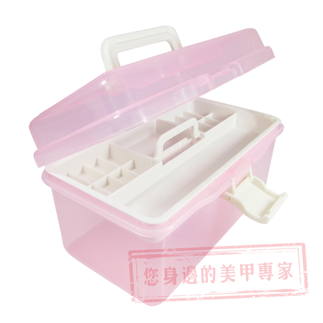 Quality Nail Art Tool Box Supplies Translucent Storage Finishing Plastic Double Layer