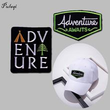 Pulaqi Adventure Embroidered Iron On Patches For Clothing Mountain Traveler Clothes Stripes Outdoor Hiking Patch DIY