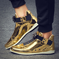 2019 Cool Men High Top Men Gold Glitter Sneakers Bling Zip Platform Flats Shoes Man Glossy Silver krasovki Leopard head Shoes