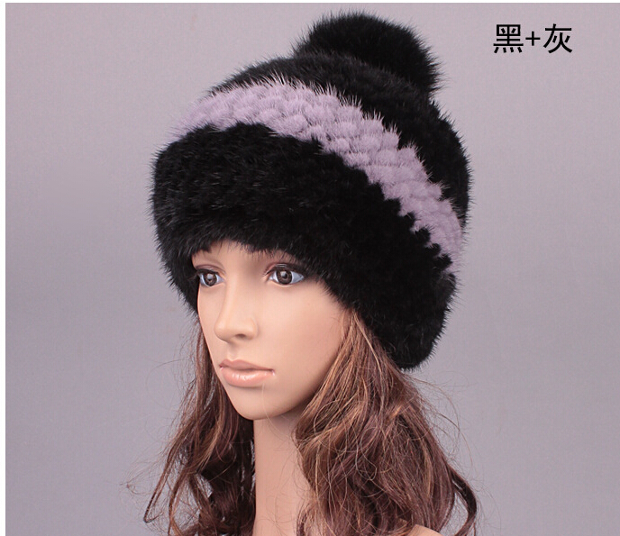 ФОТО Winter Female wearing Mink fur hat 2015 new winter thick warm fur Mink fur lady Winter Knitted hat