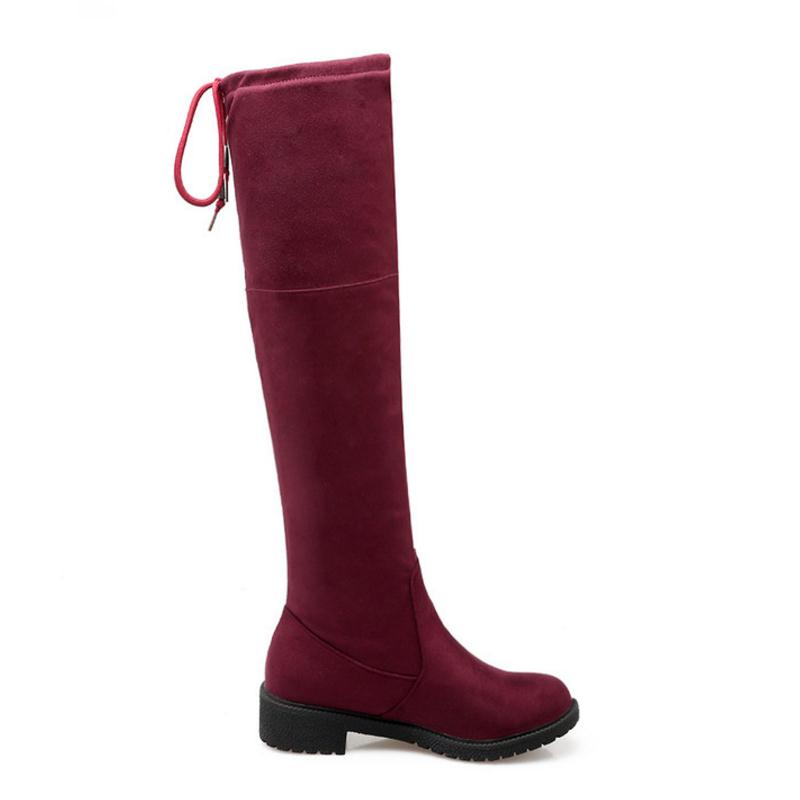 Lace Sobre Mujeres Redonda Punta Rodilla La Up 34 Tamaño Altas Jojonunu Caliente rojo Piel Botas Calzado Zapatos Negro Stretch 43 Invierno Pisos De azul pvWAIq