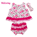 New Toddler Outfit Girls Clothes Ruffled Bloomers Swing Top Toddler Girl's Clothes Set Includes Top + bottoms Baby clothing