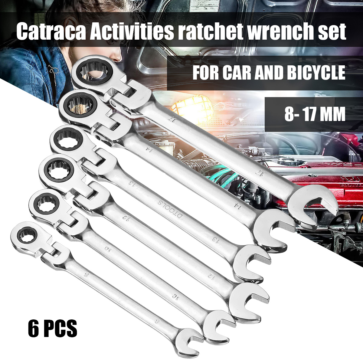 Newest 6pcs Gears Wrench Set Open End Wrenches Activities Ratchet Repair Tools To Bike Torque Combination Spanner Allen Keys berrylion 7pcs ratchet wrench spanner combination set 8 19mm open end torque spanner repair tools