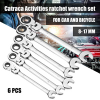 Newest 6pcs Gears Wrench Set Open End Wrenches Activities Ratchet Repair Tools To Bike Torque Combination Spanner Allen Keys