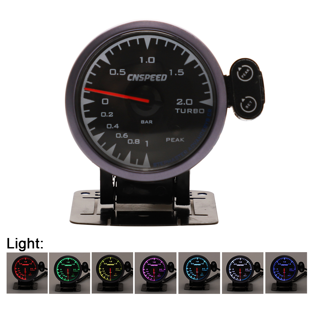 CNSPEED 60mm 7 Colors LED 12V 0 2 BAR Turbo Boost Gauge Meter Sensor POD Car Boost Turbo Meter For Honda Auto Gauge Universal