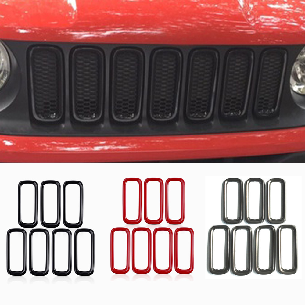 Car Front Racing Grille Molding Lid Middle Net Cover Front Grill Vent Sticker Trim For Jeep Renegade 2014 2015 2016 front grill mesh grill insert set cover front grille sticker racing grills trim for jeep wrangler jk 2007 2015
