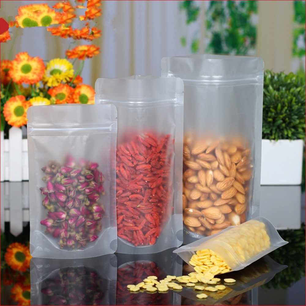 100 ชิ้น/ล็อต Ziplock Stand Up CLEAR แพคเกจถุงพลาสติกสำหรับอาหารกาแฟถั่วน้ำตาลเก็บ Reclosable ซิปล็อคด้านบนกระเป๋า