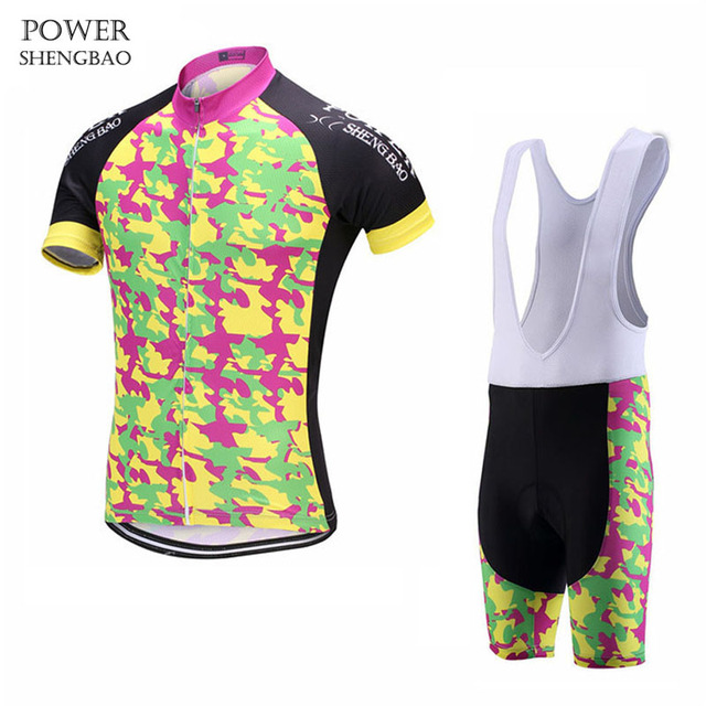 POWER SHENG BAO 2018 Camouflage style Pro Team Cycling Sets Short sleeve  bicycle wear for Cycling Clothing 29ad7841d