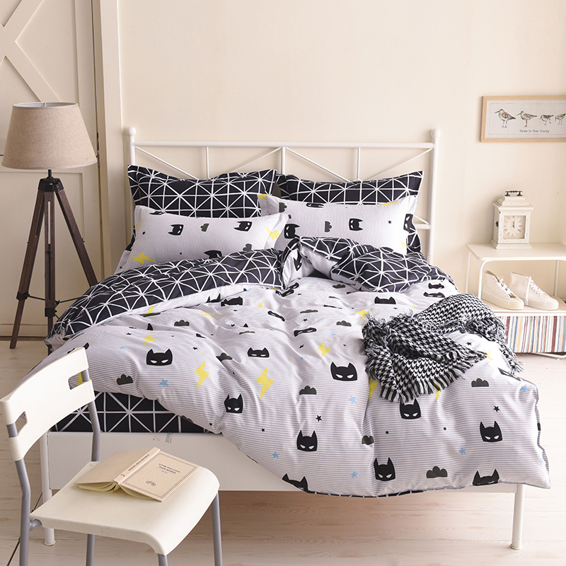 Wongsbedding Batman Bedding Set Black Color Cartoon Duvet Cover Sheet Bed Cover Single Full Queen King