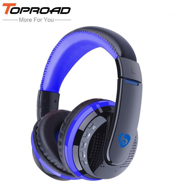 b262d972540 Toproad auriculares inalámbricos Bluetooth Auriculares auriculares FM TF  manos libres con micrófono para iOS smartphones Android