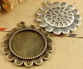 40pcs Inner size:20mm DIY zakka Accessory Metal Antique Bronze/Silver Blank Sunflower Cameo Pendant base Settings